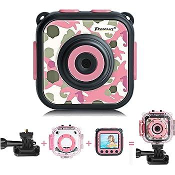 DROGRACE キッズカメラ IP68 30M防水 1080P録画 4倍ズーム 連写 タイマー撮影 顔認識 露出補正 迷彩ピンク