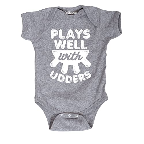 d74b10b8f Plays Well with Udders Cow Farm Barn Country Humor Cute Novelty-Baby One  Piece