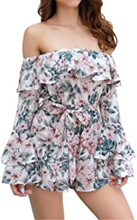 855d238762bd JINTING Off The Shoulder Striped Rompers for Women Floral Striped Casual  Loose One Piece Short Pants