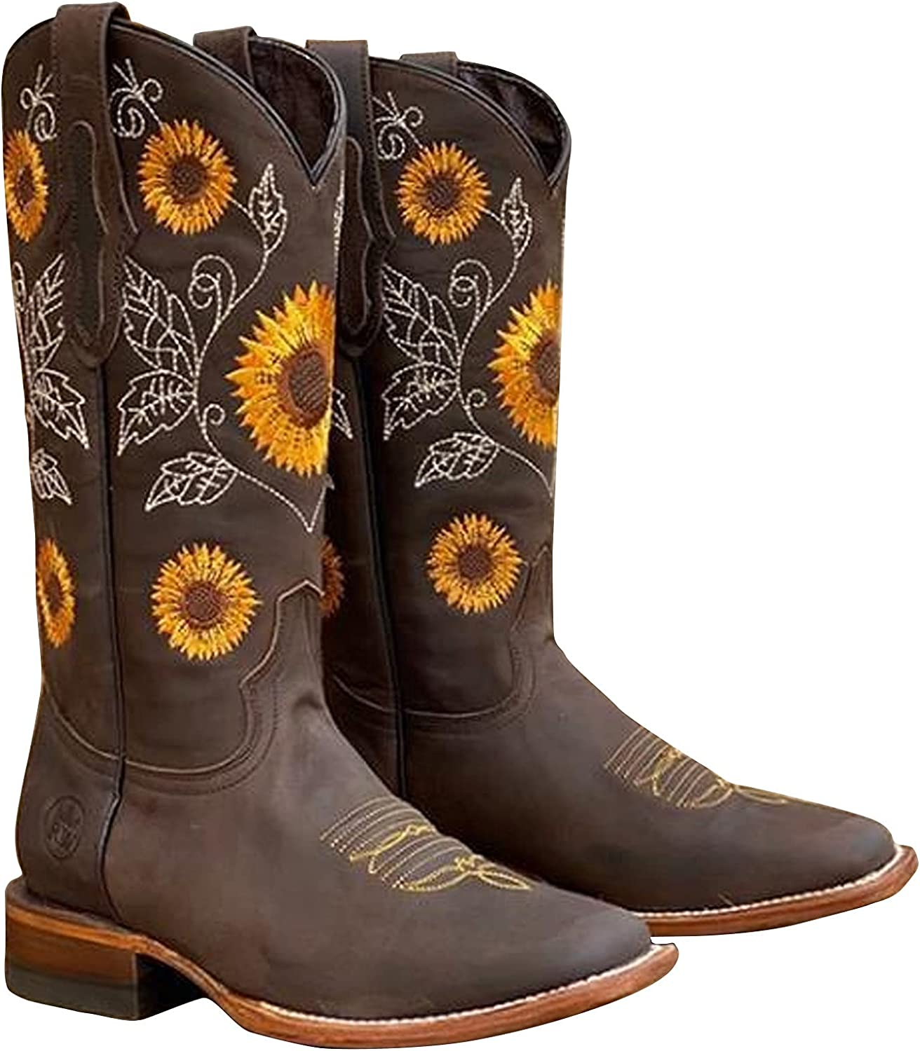 Boots For Women Fashion Embroidered Luxury goods Boo Western New mail order Sunflower Cowboy