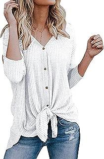 LIANGXX Women's Long Sleeve T Shirts Women Long Blouse Casual Solid Multicolor Cuff Circular Collar Tops