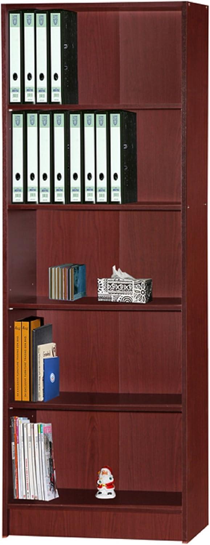 Hodedah HID5WD MAHOGANY 5 Shelve Bookcase, Mahogany