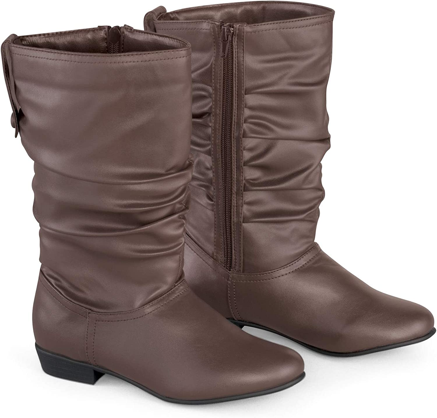 Faux Leather Mid Calf Slouch Boots w/Low Heel