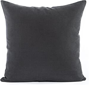 Decorative Accent Throw Pillow Cushion Cover | Solid Toss Sham Pillowcase for Sofa Couch Floor Bedroom Car I Premium Quality 100% Cotton Home Decor Fabric (Dark Charcoal Grey, 26