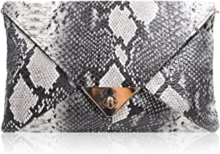 Mia Faux Leather Snakeskin Print Envelop Clutch Shoulder Handbag Evening Purse Clutch Handbag Chain Shoulder Handbag