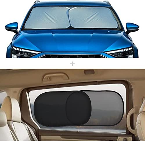 """popular EcoNour Gift online Bundle   Foldable 2-Piece Sun Shade for Car Windshield Small discount (23.5"""" x 29"""") + Car Side Window Sun Shade 20""""x12"""" (4 Pack) ( 2 Trans + 2 Semi Trans)   Complete Sun Protection online sale"""