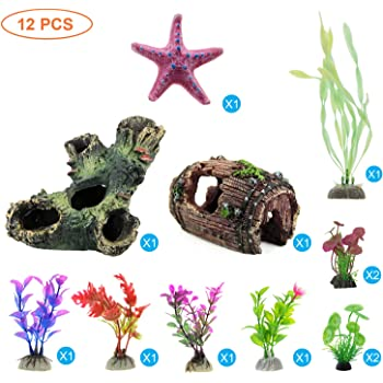 Amazon Com Slson 6 Pack Betta Fish Hammock Toys Double Leaf Betta Pad For Fish Tank Decoration Aquarium Plastic Plant For Betta Habitat Accessories Furniture Decor