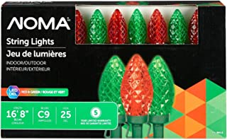 NOMA LED C9 Christmas Lights | Indoor/Outdoor String Lights | Red and Green Bulbs | 25 Light Set | 16.8 Foot Strand | UL Certified