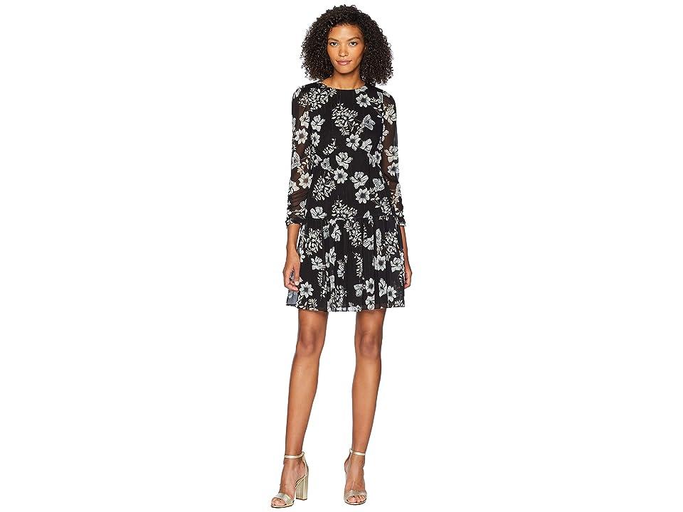 ML Monique Lhuillier - ML Monique Lhuillier Drop Waist Printed Chiffon Dress
