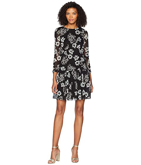 ML Monique Lhuillier Drop Waist Printed Chiffon Dress