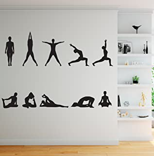 Stickerbrand 10 Yoga Poses Silhouette Position Wall Decal.(Black Color) Great for Yoga Studio or Home. #267