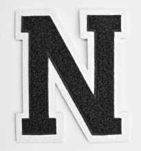 Varsity Letter Patches - Black Embroidered Chenille Letterman Patch - 4 1/2 inch Iron-On Letter Initials (Black, Letter N Patch)