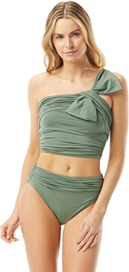 Bowline Soiree One Shoulder Crop Top with Bow Detail and Hidden Underwire