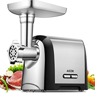 Aicok Electric Meat Grinder, 4-IN-1 Meat Mincer&Sausage Stuffer, 1200W Max Sausage&Kubbe Kits Included, 3 Grinding Plates, Concealed Accessory Box, Stainless Steel, Home&Commercial Use, FDA Certified