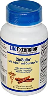 Life Extension Cinsulin With Insea2 And Crominex 3+ - 90 Vegetarian Capsules (01503)