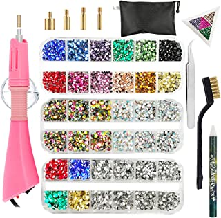 Hotfix Applicator, Hot Fix Rhinestone Setter Wand Tool, Hot-fix Bedazzle Kit, 4360 Pcs, AB Crystal, Rainbow, Clear, Colors, Tips, Manual, Tweezers, Tray, Gem Picker, Brush, Stand, Bag, 3 Jewel Sizes