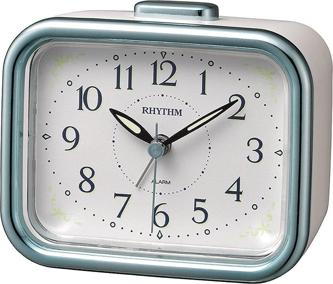 最終的に唯物論不要リズム時計 目覚まし時計 アナログ 連続秒針 ジャプレフルール 【 日本製 】 ベル音 ? アラーム 高輝度 蓄光 青 RHYTHM 8RA644SR04