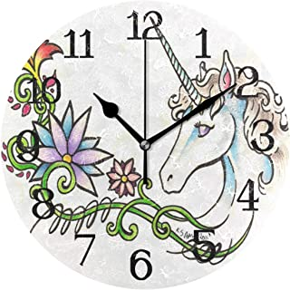 Ernest Congreve Wall Clock Texas Longhorn Steer 8 inch Silent Non-Ticking Square Classic Clock Retro Quartz Decorative Battery Operated Clocks for Living Room Kitchen Home Office Decor