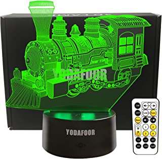 YODAFOOR Steam Train Night Lights for Kids Baby Teen 3D Illusion Lamp, Birthday Party Christmas Train Gifts Anniversary Present, Multi Color Remote Lamp Room Bedside Table Desk Nursery Decor Lighting