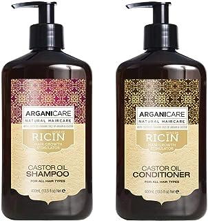 Duo Arganicare Shampooing accélérateur de croissance à l'huile de ricin Bio. 400ml + Arganicare Après shampooing Reconstru...