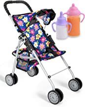 Best Exquisite Buggy, My first Baby Doll Stroller with Flower Design With Basket In The Bottom- 2 Free Magic Bottles Included Review