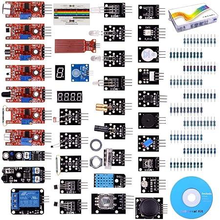 COODENKEY Raspberry Pi用センサー 電子部品キット 温湿度 アナログ ホール センサモジュール スターターキット 電子工作キット UNO R3 互換キット 実験用 Pi 3 2 B B+に適用 37個