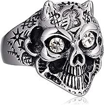 ANAZOZ Mens Rings Stainless Steel Signet Ring Punk Chic Animal Head Crystal Ring