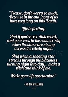 The Art Stop Quote Robin Williams Don't Worry Life Spectacular Print F12X8050