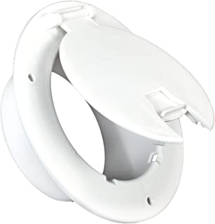 JR Products 541-B-2-A Polar White Deluxe Round Electric Cable Hatch