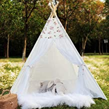 TreeBud Kids Teepee Tent for Girls White Sheer Lace Play Tent for Indoor and Outdoor Boho Lace Canopy Childrens Room Decor