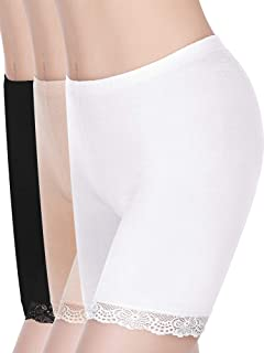 Skylety 3 Pieces Anti-Chafing Modal Panties Lace Yoga Shorts Stretch Underwears for Women and Girls, Black, White, Beige
