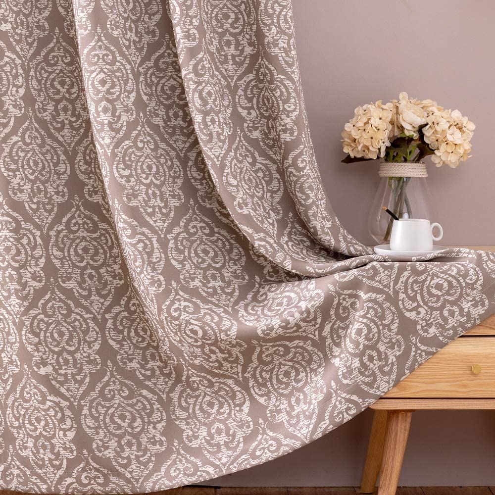 jinchan Blackout Curtains Damask Design Pattern Living Room Dining Bedroom Classic Window Curtains Room Darkening Thermal Insulated Drapes Grommet Top 2 Panels 95