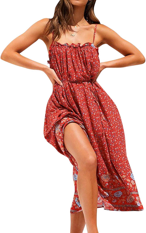 BerryGo Women's Boho Floral Backless Dress Spaghetti Strap Midi Dress