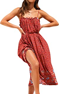 BerryGo Women`s Boho Floral Backless Dress Spaghetti Strap Midi Dress