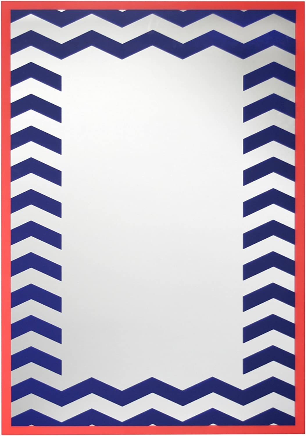 Leick Navy and Coral Chevron 20-Inch X 28-Inch Decorative Wall Mirror