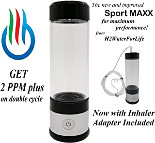 H2 USB Sport MAXX Hydrogen Water Generator with Glass Bottle and Inhaler Adapter
