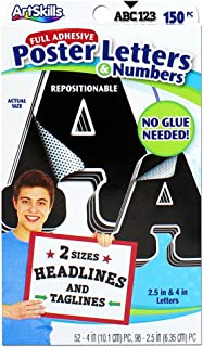 ArtSkills Self-Stick Poster Letters, Black, 2 Sizes, 150 Pieces (PA-2799)