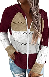 Aleumdr Women's Color Block Zip-up Sweatshirts Casual Loose Long Sleeve Tunic Hoodies Red X-Large Size