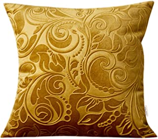 TangDepot Heavy Velvet Embossing Throw Pillow Cover, Classis Floral Anaglyph Velvet Fabric, Decorative Pillow Cover, Indoor/Outdoor Pillows Shell, Cushion Cover - (12 x 12, C13 Yellow)