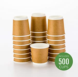 500-CT Disposable Kraft 4-oz Hot Beverage Cups with Double Wall Design: No Need for Sleeves - Perfect for Cafes - Eco Friendly Recyclable Paper - Insulated - Wholesale Takeout Coffee Cup