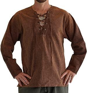 zootzu Round Collar' Medieval, Viking Shirt, Men Renaissance Clothing, Steampunk - Stone Brown