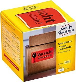 AVERY Zweckform Warnetiketten 7211 Vorsicht zerbrechlich neon rot, 100 x 50 mm, 200 Etiketten auf Rolle im Kartonspender
