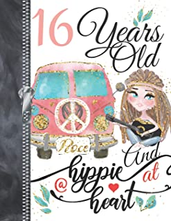 16 Years Old And A Hippie At Heart...Peace: A4 Large Bohemian Style Writing Journal Book For Girls