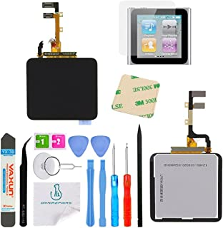 OmniRepairs LCD Display with Glass Digitizer Touch Screen Assembly For iPod Nano 6th Gen (Generation) with Screen Protector, Adhesive and Repair Toolkit (Black)