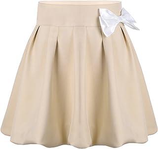 zdhoor Kids Girls Pleated Plaid Skirt Classic School Uniforms Side Split Tartan Kilt with Faux Leather Buckle