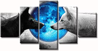 """Canvas Wall Art Wolf Home Decor Black and White Animals Blue Moon Pictures Contemporary Wildlife Artwork Decorations 60"""" W..."""