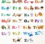 DECOWALL DW-1308 Alphabet ABC and Animals Kids Wall Decals Wall Stickers Peel and Stick Removable Wall Stickers for Kids Nursery Bedroom Living Room (Medium)