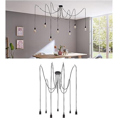 Paulmann 50390 luminaire en suspension Neordic Ketil 7 Flammes araignée max. 7x20watts lampe suspendue Noir éclairage de plafond Silicone, Suspension Métal E27