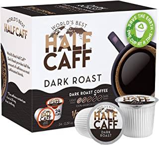 World's Best Half Caff, Dark Roast Blend 24ct. Recyclable Single Serve Coffee Pods - Richly satisfying arabica beans California Roasted, k-cup compatible including 2.0