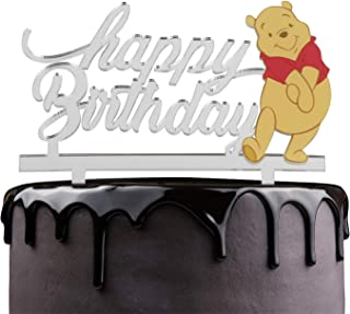 Winnie The Pooh Happy Birthday Cake Topper - Disney Cartoon Theme Party Cake Décor - Baby Shower Kids Birthday Party Supplies - Adorable Pooh Bear Silver Mirrored Acrylic Decorations